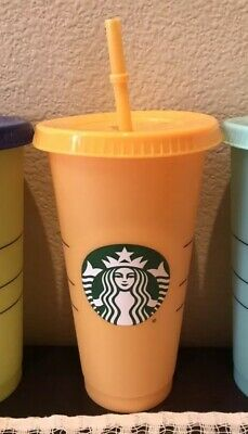 Starbucks Color Changing Cold Cup Venti 24oz ORANGE APRICOT Reusable SHIPS NOW