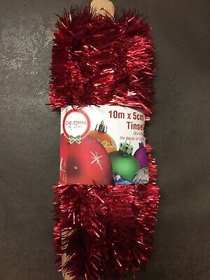 NEW - CHRISTMAS TINSEL - RED - 10m X 5cm