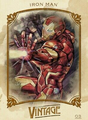 Iron Man - Card 03 - Topps Vintage Series 1 - Marvel Collect *SUPER RARE*