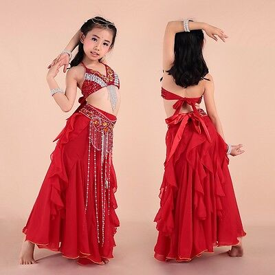 Arab Oriental Kids Girls Belly Dance Costume Outfit Top Pants Bollywood Outfits