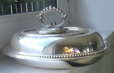 Antique London/Sheffield Silver Plated Oval Entree-Mappin & Webb ^