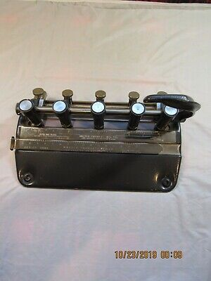 Master Products Model 5535 5-Hole Adjustable Paper Punch Black~ Tested