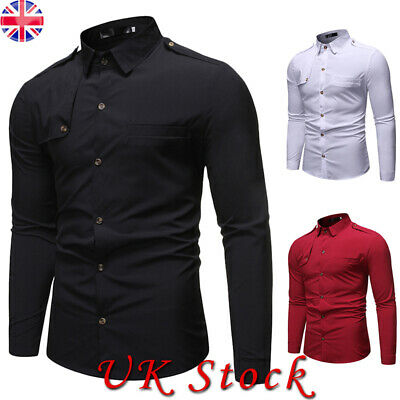 Men's Long Sleeve Casual Formal Dress Shirt Military Army Tactical Cotton Tops