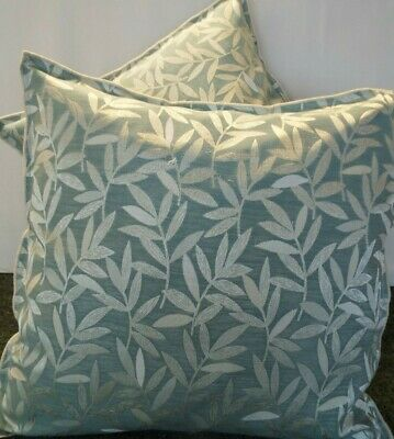 £12.99 For Pair Of 24 Inch Extra Large Giant Cushions Aqua Blue And Cream