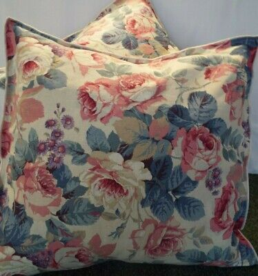 £12.99 For Pair Of 24 Inch Extra Large Giant Cushions Rose,Blue And Beige