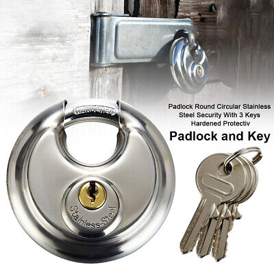 Padlock Round Circular Stainless Steel Security With 3 Keys Hardened Protective