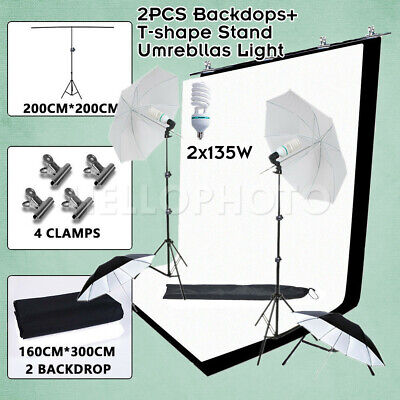 2x135W Studio Umbrellas Lights Photography Photo Black White Backdrops Stand Set
