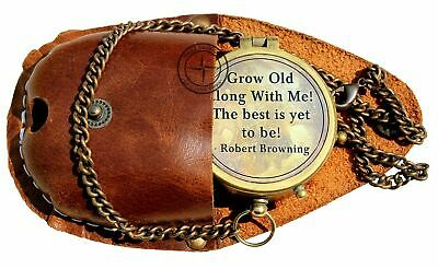 Grow Old with ME Engraved Brass Compass ON Chain with Leather CASE, Directional