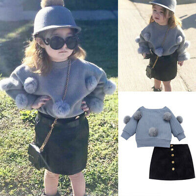 Toddler Baby Girls 2PCS Autumn Clothes Set Hairball Knit Tops Mini Skirt Outfits