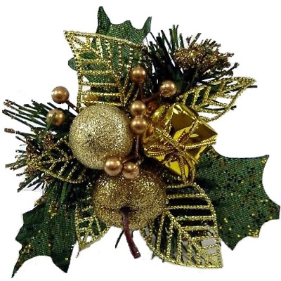 3 x SUPERIOR QUALITY  GOLD and GREEN CHRISTMAS PICKS