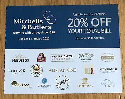 20% Off Mitchells & Butlers - Harvester, All Bar One, O'Neill's, Browns & More