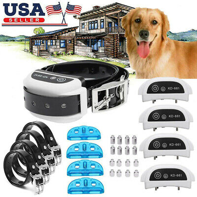 Wireless 1/2/3/4 Dog Fence Pet Containment System Transmitter Collar Waterproof