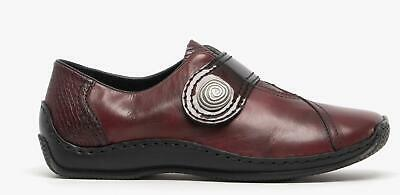 Rieker L1760 Ladies Womens Smooth Genuine Leather Touch-Fasten Smart Shoes