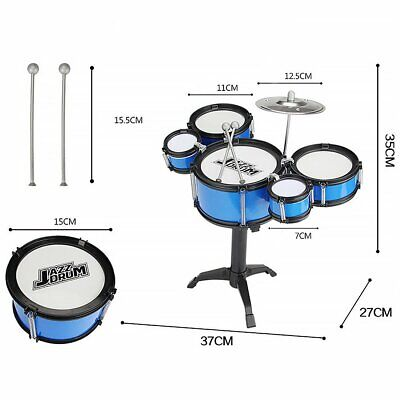 Kids Black and Blue Drum Kit Play Set Drums Musical Toy Instrument Pedal Stool