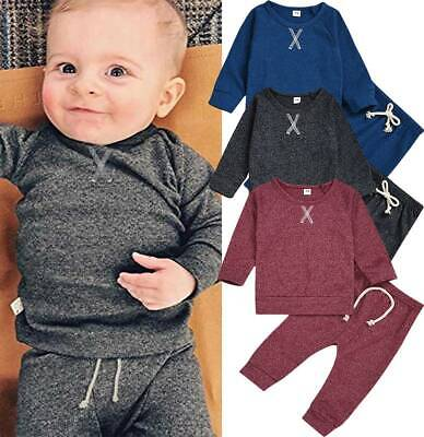 Newborn Kids Baby Boy Girl Outfits Long Sleeve Tops Pants Tracksuit Clothes Set