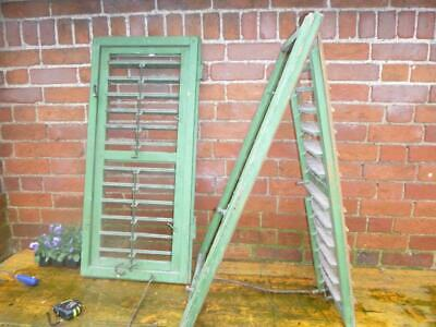 VINTAGE WOODEN SHUTTERS WINDOW SHABBY ANTIQUE FRENCH 103x98cm   FREE post