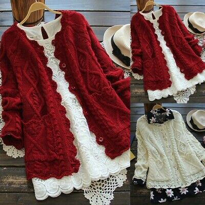 Womens Plus Size Winter Girl Style Cardigan Sweater Knitted Cotton Jacket  Coat