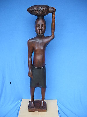 "large antique wood hand carved sculpture African ethnographic statue 52 "" tall"
