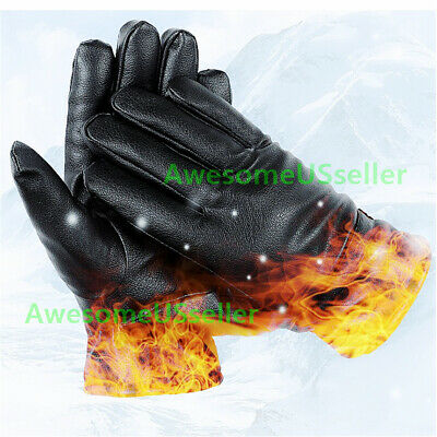 Men Women Winter Gloves Screen Snow Windproof Waterproof Leather Thick