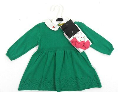 Ex M&S Baby Girl Green Knit Dress & Flower Tights Outfit 0 3 6 9 12 18 24 Month