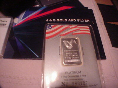 Engelhard 1 Ounce Platinum Bar 999.5 Fine 1 Troy Ounce American Eagle Assay J&S