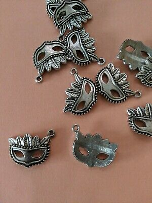 ❤ 10 x Silver Tone Mask Masquerade Charm Pendant 16mm Jewellery Making UK Stock❤