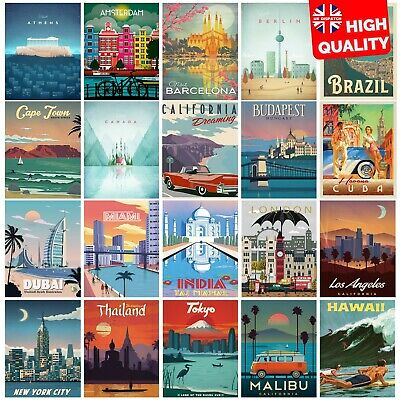 Vintage Travel Retro Posters Prints Art Tourism Holiday Home Decor | A4 A3 A2 A1