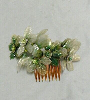 Vintage Antique Cellophane Flowers Hair Comb