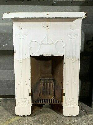 Antique Victorian ornate solid cast iron fireplace with mantle grill and insert