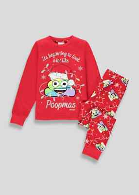 Kids Girls Red Christmas Poop Emoji Pyjama Set (6-13yrs) Pyjama Nightwear