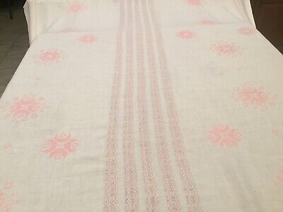 Vintage White Linen Pink Cross Stitch Tablecloth 58 x 86
