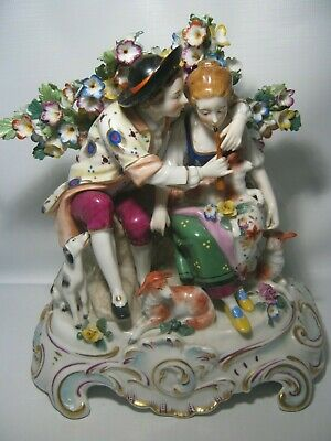 Antique Unknown marked Hand Painted Porcelain Courting Smoking Couple Figurine