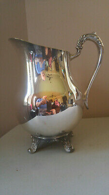 Vintage EB Rogers Silver-plated pitcher Acanthus leaf feet w/Ice Guard 1883