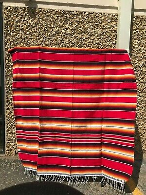 Serape XXL,5' X 7',Mexican Blanket,HOT ROD, Seat Covers,Motorcycle,  BRIGHT RED