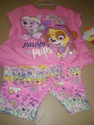 Nick Jr Paw Patrol Infant Girls Pink Outfit Two-Piece Short Set Size 24M