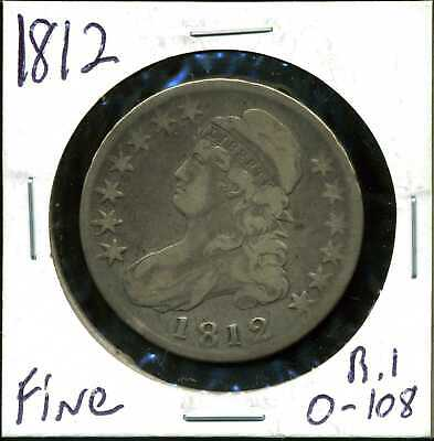 1812 50C Capped Bust Half Dollar in Fine Condition R1 O-108 COIN#03
