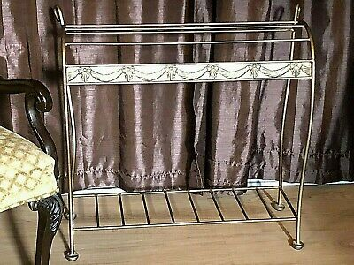 Vintage Gold Solid Quilt Rack Blanket Stand Bedspread Display| Hand Wrought Iron