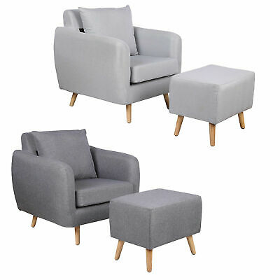Modern Grey Fabric Armchair With Footstool Occasional Bedroom Accent Chair