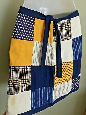 Vintage 1970S Know Clothes Skirt Quilt Squares Navy Blue Yellow Tie Back Zip