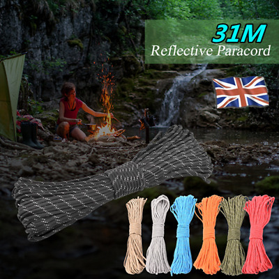 100FT//31M Paracord Parachute Cord 9 Strand Luminous Reflective Rope Lanyard A5T2