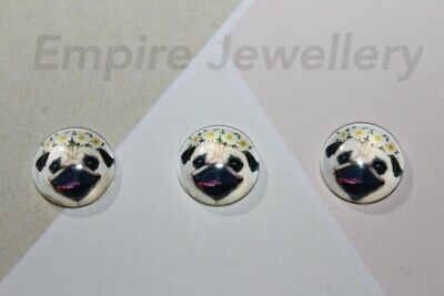 2 x Pug with Floral Crown 12x12mm Glass Cabochons Cameo Dome Dog Puppy