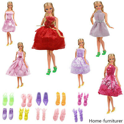 5 Set Clothes Dress Outfits 10 Shoes Boots Heels for Barbie Doll Accessoris UK