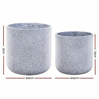 2 x Plant Pots Stone Large Indoor Outdoor Garden Flower Decor Grey Oval