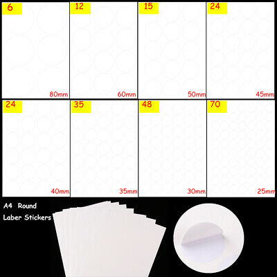 A4  Round Self Adhesive stickers for Inkjet Laser Printer Paper