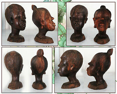 Exquisite Vintage Hand Carved African Wood Heads 17Cm High  Beautiful Detailing