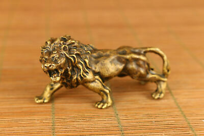 Rare chinese old bronze hand casting lion statue