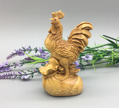 China Exquisite boxwood Hand Engraving Chicken Statue