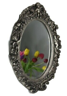 Mirror Oval Baroque Silver Wall Bathroom Angel Pompous New