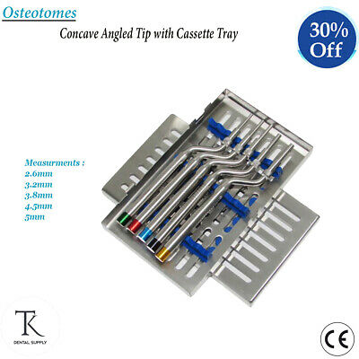 Dental Implant Surgery Osteotomes Concave Angled Tip With Cassette Bone Cuttings