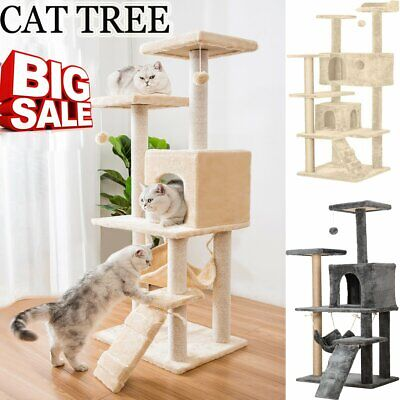 Cat Tree Scratching Post Gym Play Toy House Scratcher Pole 2 Colour Medium 150cm